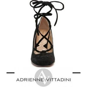 Adrienne Vittadini black suede lace up wedges 8.5